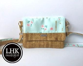 Aqua floral and faux cork small crossbody purse bag or clutch