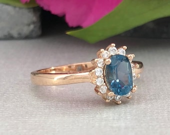 Oval Natural London Blue Topaz 14K Solid Rose Gold Halo Diamond Simulated Women's Solitaire  Engagement Wedding Promise Ring