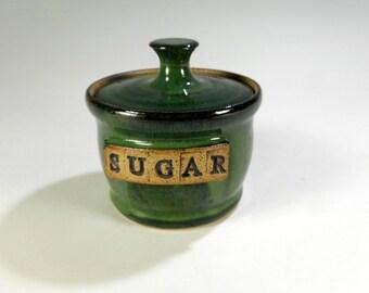 Ceramic sugar bowl with SUGAR, pottery sugar bowl, stoneware sugar bowl, ceramic sugar bowl with lid
