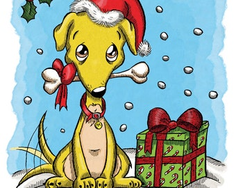Christmas Greyhound (DIGI STAMP)