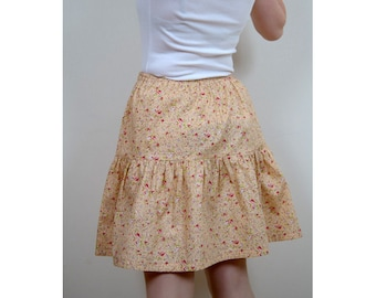 Gathered 100% cotton, printed Pink salmon to flowers pink skirt, size elasticated
