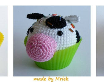 Dutch crochet pattern: cupcake hippo, cow and horse