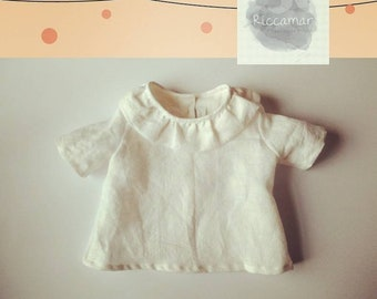 Baby linen blouse, little girl with curly collar