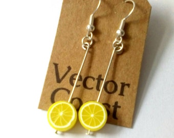 Lemon Slice Earrings, Fruit Earrings, Lemon Slices, Tropical Fruit, Fruit Jewellery, Cute Earrings, Fruity Jewellery, Food Jewellery
