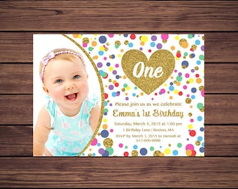 Printable Rainbow Birthday Invitations ~ Pink and gold st birthday invitation girl any age pink gold