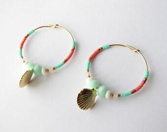 """Créoles en plaqué or Gold Filled et perles Miyuki """"coquillage"""""""