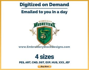 Sioux City Musketeers - Hockey Sports Logo Embroidery Design - 4 sizes Embroidery