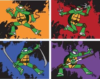 Teenage Mutant Ninja Turtles TMNT Leonardo Donatello Raphael Michelangelo Cartoon Illustration Drawing Fan Art