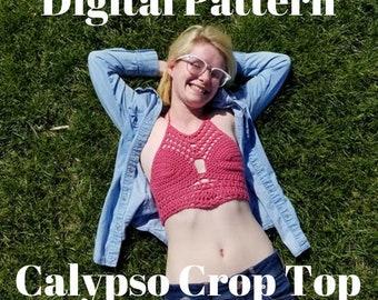 Crop Top crochet pattern, Crochet halter top pattern, bralette pattern, summer top pattern, calypso crop top pattern, crochet bikini top