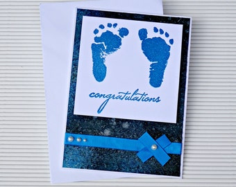 Handmade Baby Shower Greeting Card / Baby Congratulations Card / Baby Feet Card / Dark Blue Baby Congratulations Card / Galaxy Baby Card