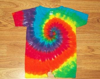 Tie dye Romper, 6m 12m 18m 24m Rainbow, tie dye baby onesie