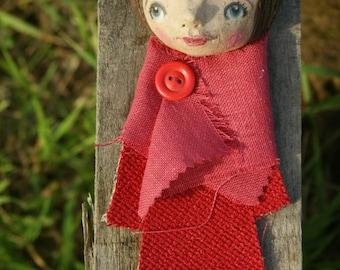 Terracotta sculpture-terracotta poster-terracotta figurines-figurines-sculptural clay handmade terracotta-red dress girl