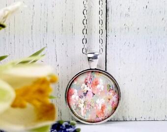 Floral 1-Medium Round- Glass Bubble Pendant Necklace