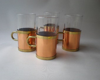 Set of 4 Copper and Glass Tankards or Mugs