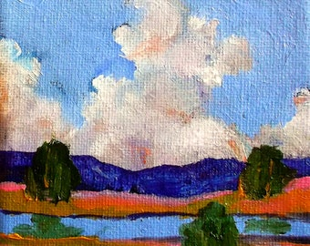 Miniature Impressionist Oil Painting 4x4 Plein Air California Field Stream Landscape Lynne French Art