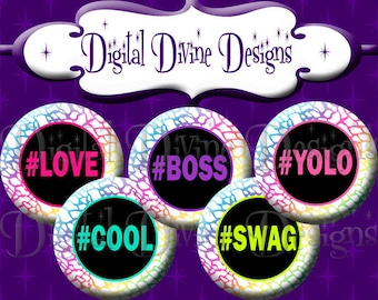 Colorful HashTag Words # - 1 inch round digital graphics - Instant Download