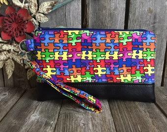 Autism Awareness, Wristlet Wallet for Iphone 7 Plus, Vegan Leather Wristlet, Iphone 6 Wallet Case, Otterbox Wristlet, Smartphone Wristlet