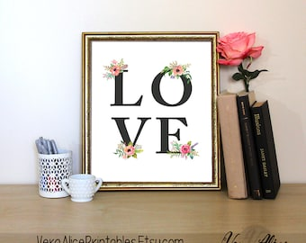 Love Floral Art Print, Love Heart, Instant Download, Printable Home Decor, Digital Art Print, Love Floral Printable, Valentines Gift