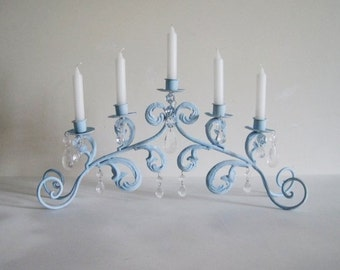Seaside Blue Rusty Patina Scroll Candelabra MADE TO ORDER