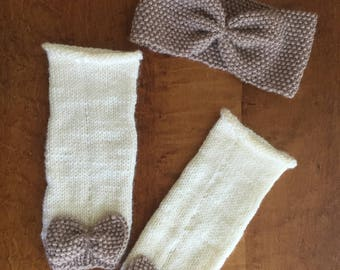 Hand knit Toddler Headband and Leg warmers