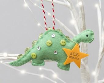 Personalised Dinosaur Tree Decoration - Dinosaur Christmas Decoration - Dinosaur - First Christmas - Christmas Ornament