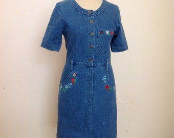 70s Embroidered Novelty Denim Dress Tiny Embroidery Short Sleeve Dress Small