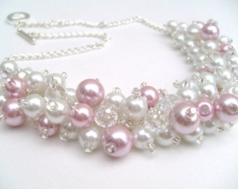 Beaded Necklace Pearls with Crystals, Pink and White Cluster Necklace, Chunky Necklace, Pink Bridesmaid Gift, Wedding Jewelry, Blush Pink