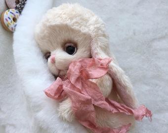 Teddy cream Bunny kid, soft plush  handmade toy Artist teddy made to order for you