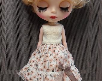 BLYTHE DOLL Pink Poppy  Skirt and 1/2 Slip Only