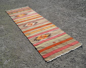 "Vintage Turkish Kilim  Rug, Runner Kilim,Area Antigue Kilim Rug 3"" x9'6"" ft Rug Kilim Runner"