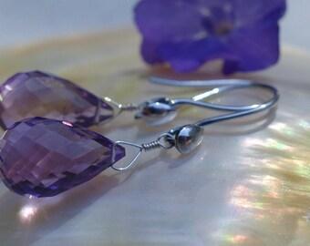 Amethyst Earrings, Amethyst Jewelry, Faceted Amethyst Briolettes, Gemstone Earrings, Gemstone Jewelry, Birthstone Earrings, FebruaryAmethyst