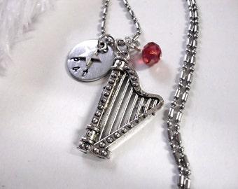 Harp Jewelry, Personalized Jewelry, Personalized Music Necklace, Harp Necklace, Musical Necklace Custom Jewelry, Custom Gift