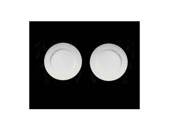 "Set of 2 Delphine English China, Small White Plates with Embossed Laurel Wreath Scallop Edges, Bread Butter Plates, 6"" Wide, Pristine"