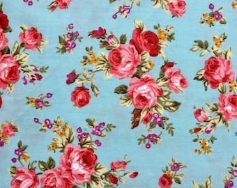 Retro Floral Fabric - Rose & Hubble - Sky Blue