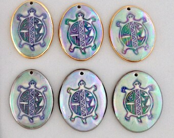 Spirit Turtle porcelain pendant, Tribal Turtle ceramic necklace, gray turtle, blue turtle, green turtle charm, Native American, gift idea.
