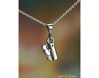 "Sterling Silver Woodpecker Necklace with 16-24"" Chain or Pendant Only"
