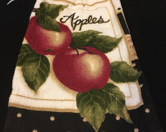 Apples with Word Single Sided Kitchen Hand Towel Black 2