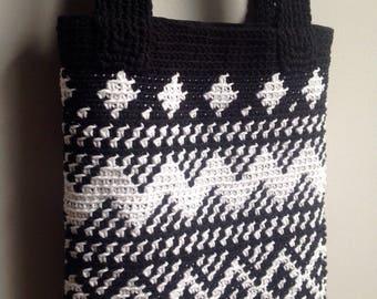 Black and white cotton shoulder bag