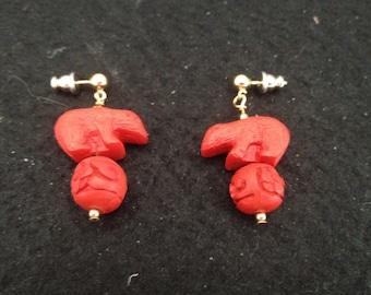 Vintage Red Cinnabar Bears on Balls Post/Drop Earrings