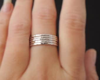 5 Sterling Silver Rings hammered stacking ring 16 gauge set of five hammered stacking rings . choose your size