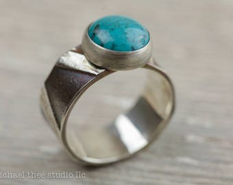 Turquoise ring, large size, bold band with fused textured sterling silver shapes, US size 11
