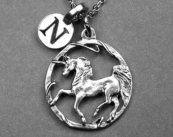 Unicorn Necklace, Unicorn charm, Unicorn jewelry, antiqued, silver plated, personalized necklace, initial necklace, hand stamped initial