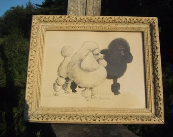 """1964 Signed Gary H Kokes Print """"Two Championship Poodles"""""""