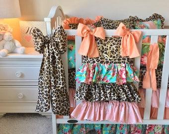 Girl Crib Bedding, Baby Girl Crib Sets, Stag and Leopard Crib Set, Girls Nursery Bedding, Crib Ensembles, Luxury Crib Sets, Baby Girl Crib
