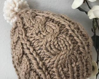 Knitted Chunky Pom pm Women's Winter Hat light brown and bronze.