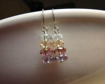 Faceted Glass Beaded Earrings, Sparkle Sparkling, Petite Earrings Multicolor Glass Earrings, Feminine Delicate Pretty, Gift for Her