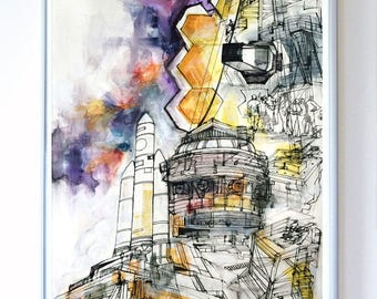 11 x 14 inch James Webb Space Telescope at NASA Goddard Space Center, Science Poster Art Print of Original Painting