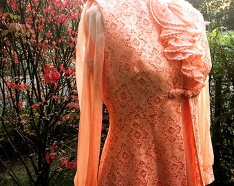 1960's Peach Maxi Dress with detachable Sleeveless Lace Duster Jacket