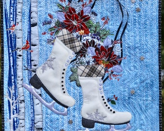 MarveLes Collage PAPER Pattern CHRISTMAS SKATES Winter Holiday Art Quilt Wall Hanging White Wool or Faux Leather Poinsettia Home Decor Decor