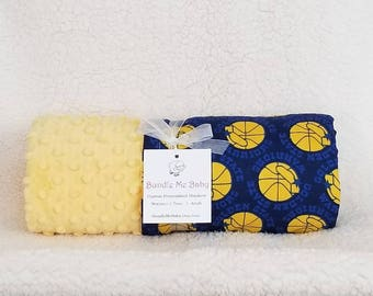 Golden State WARRIORS Basketball BABY blanket Blue and Yellow Embroidered Minky and cotton * PERSONALIZED *
